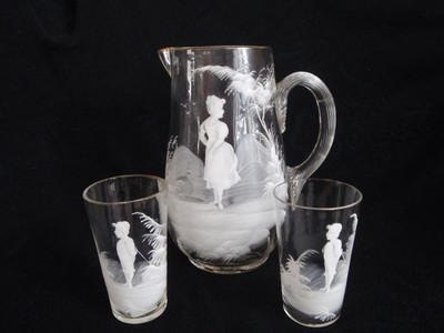 Mary Gregory Water Lemonade Pitcher 6 Glasses Children Playing