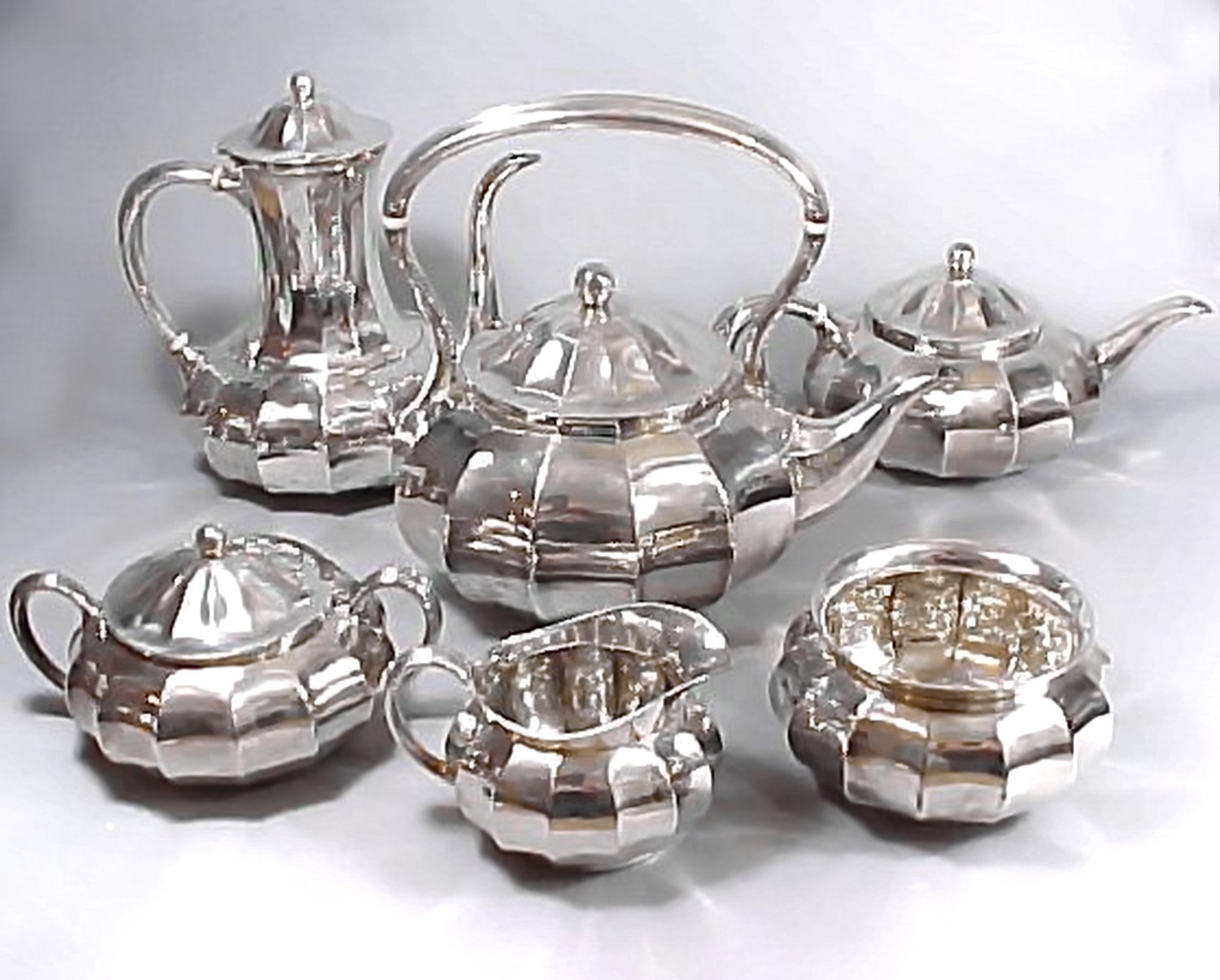 Rare Tiffany & Co 1907 6 pc Silver Tea Coffee Service Mellon Form