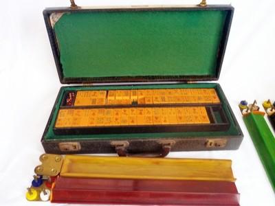1930s Bakelite Mah Jong Game Boxed 5 Multi Color Bakelite Racks