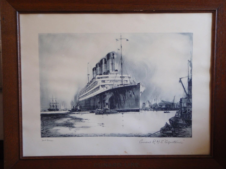 Antique Cunard R.M.S. Aquitania Lithograph by Frank H. Mason  Cunard Lines Oak Frame