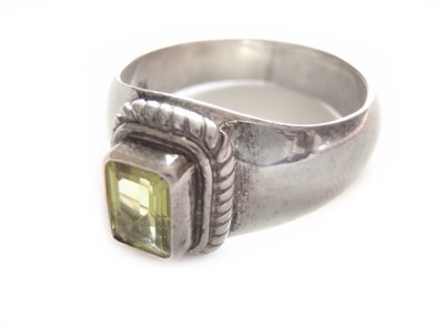 Vintage Peridot Silver Statement Ring August Birthstone