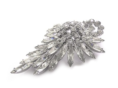 Gorgeous 1950s Large Crystal Brooch Evening Wear Wedding Brooch