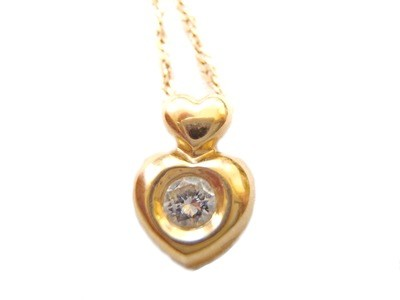 18k Gold Double Heart and Diamond Pendant Necklace with Chain