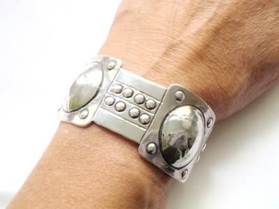 Art Deco 900 Silver Cuff Bracelet Jugendstil and Arts & Crafts