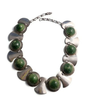 Taxco Silver and Large Green Agate Cabochon Necklace