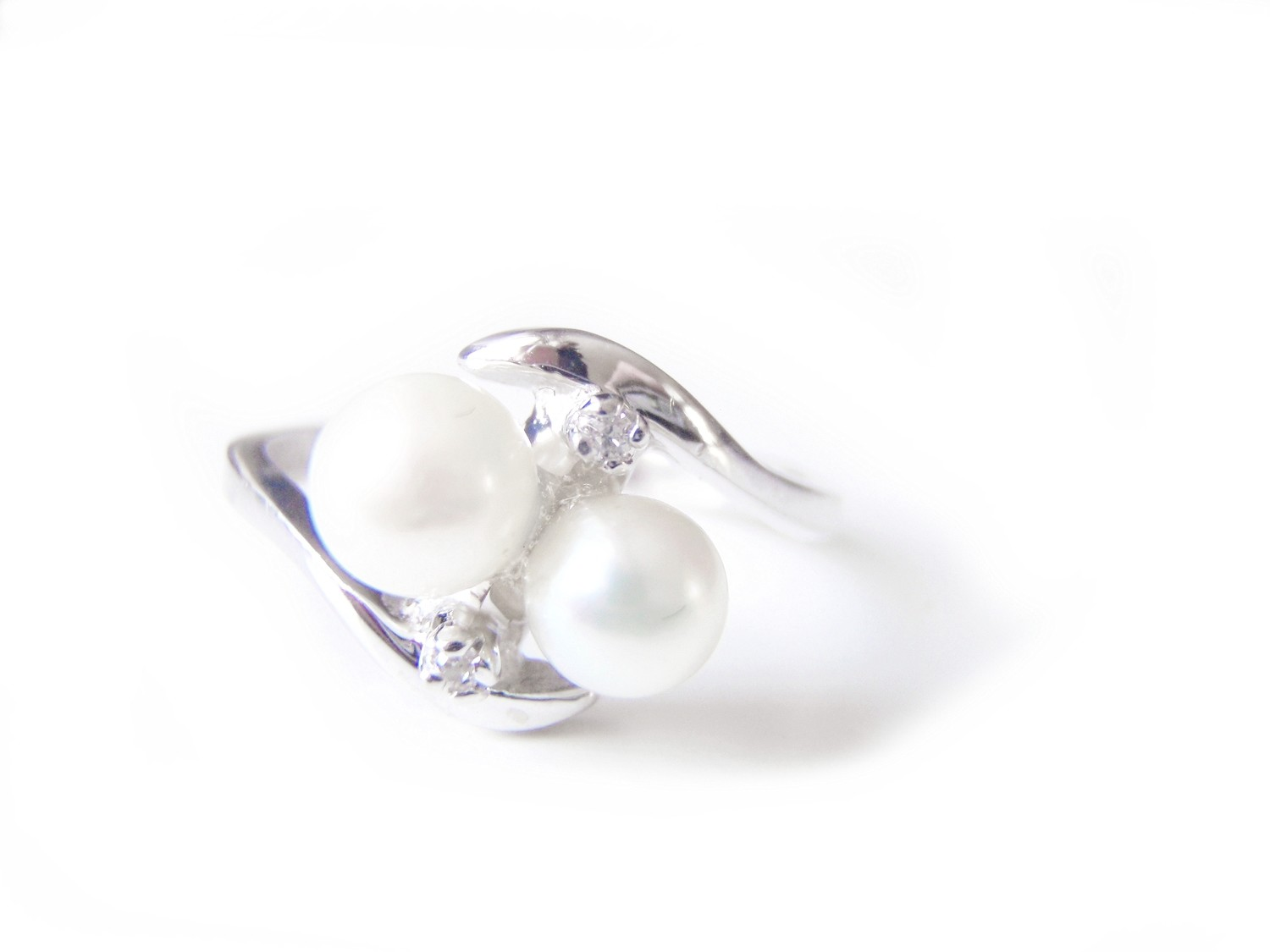 Romany Two Pearl Diamond 14k Ladies Ring Stern and Stern NY