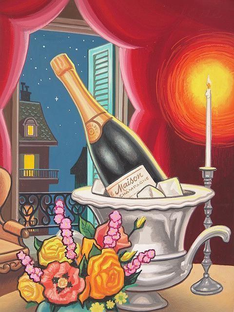 Original Greeting Card Oil Painting Lloyd Rognan Illustration Wedding, Engagement, Anniversary