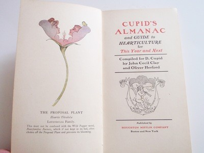 1908 Cupid's Love Journal Almanac Ist Ed Book Flower Guide and Heart Culture
