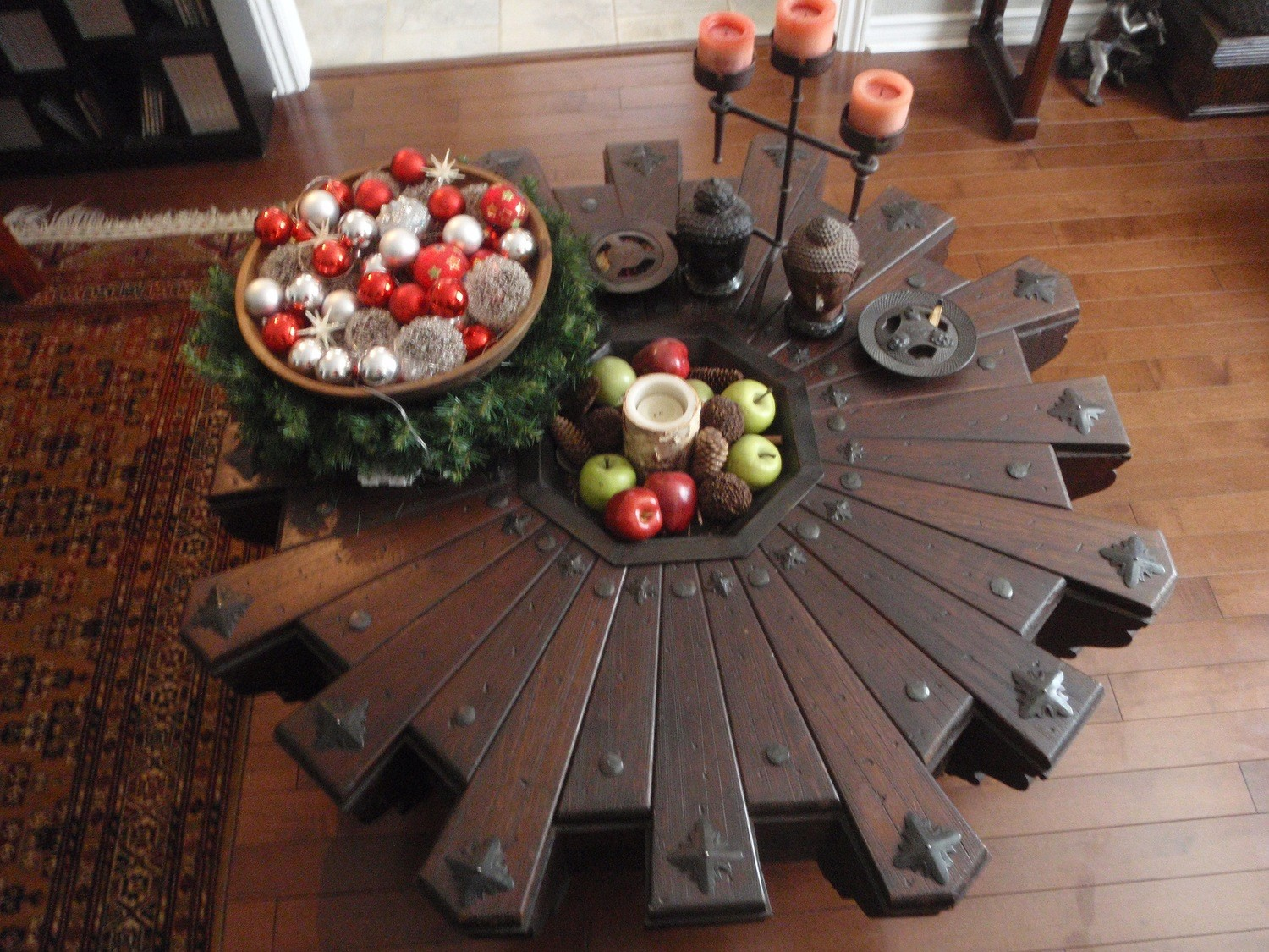 Antique Asian Wood Coffee Table Hand Tooled Wrought Iron Living Room Furniture