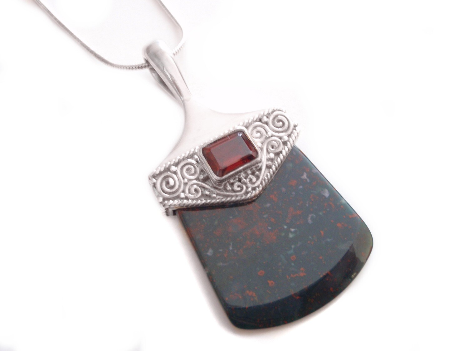 Vintage Bloodstone and Garnet Silver Pendant and Chain