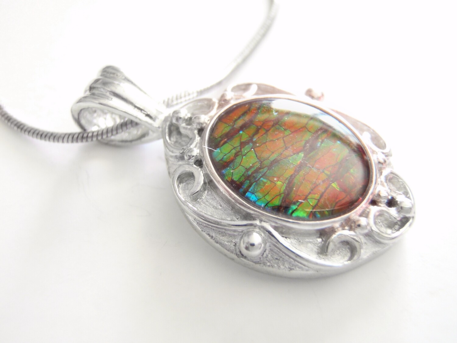 Canadian Ammolite and Sterling Silver Pendant and Chain