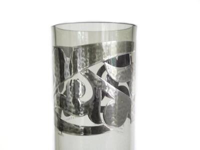 Vintage Ettore Sottsass Silver and Topaz Glass Vase Egizia Italy