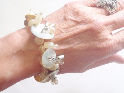 White Mother of Pearl  Bracelet Summer Dangle Drop MOP