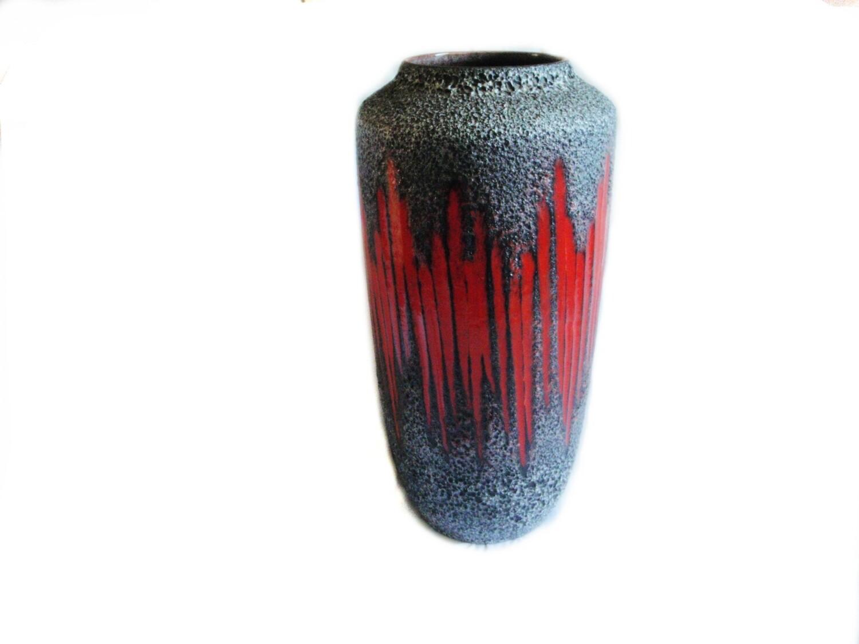 HUGE Mid Century Red Lava Floor Vase W. Germany Umbrella Stand