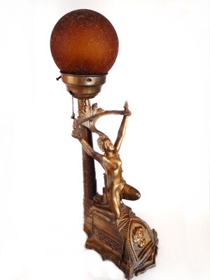 Art Deco Lamp Nude Goddess Lighting 1920s Accent Light Amber Globe Shade