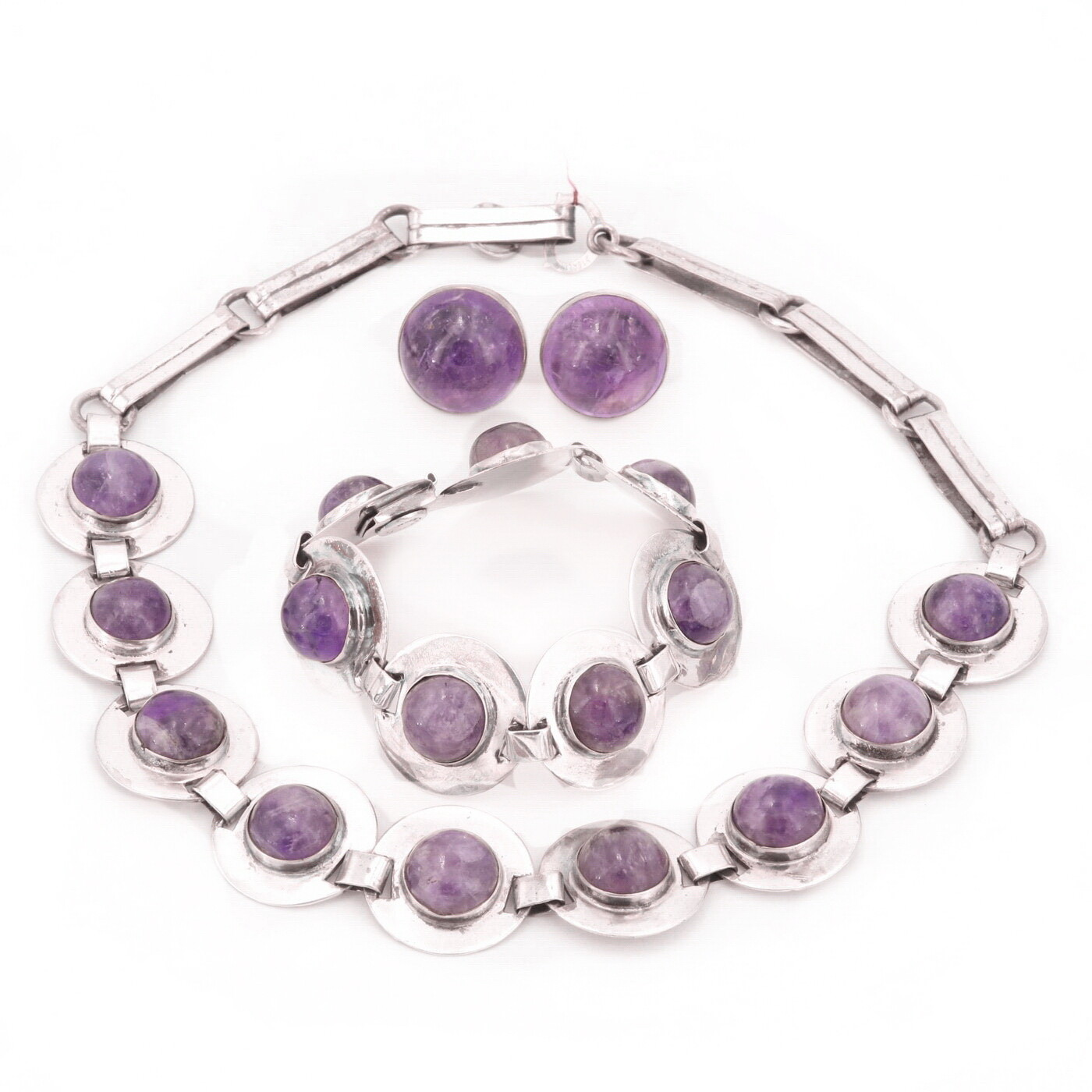 Taxco Amethyst Silver Trio Necklace Bracelet Earrings Parure