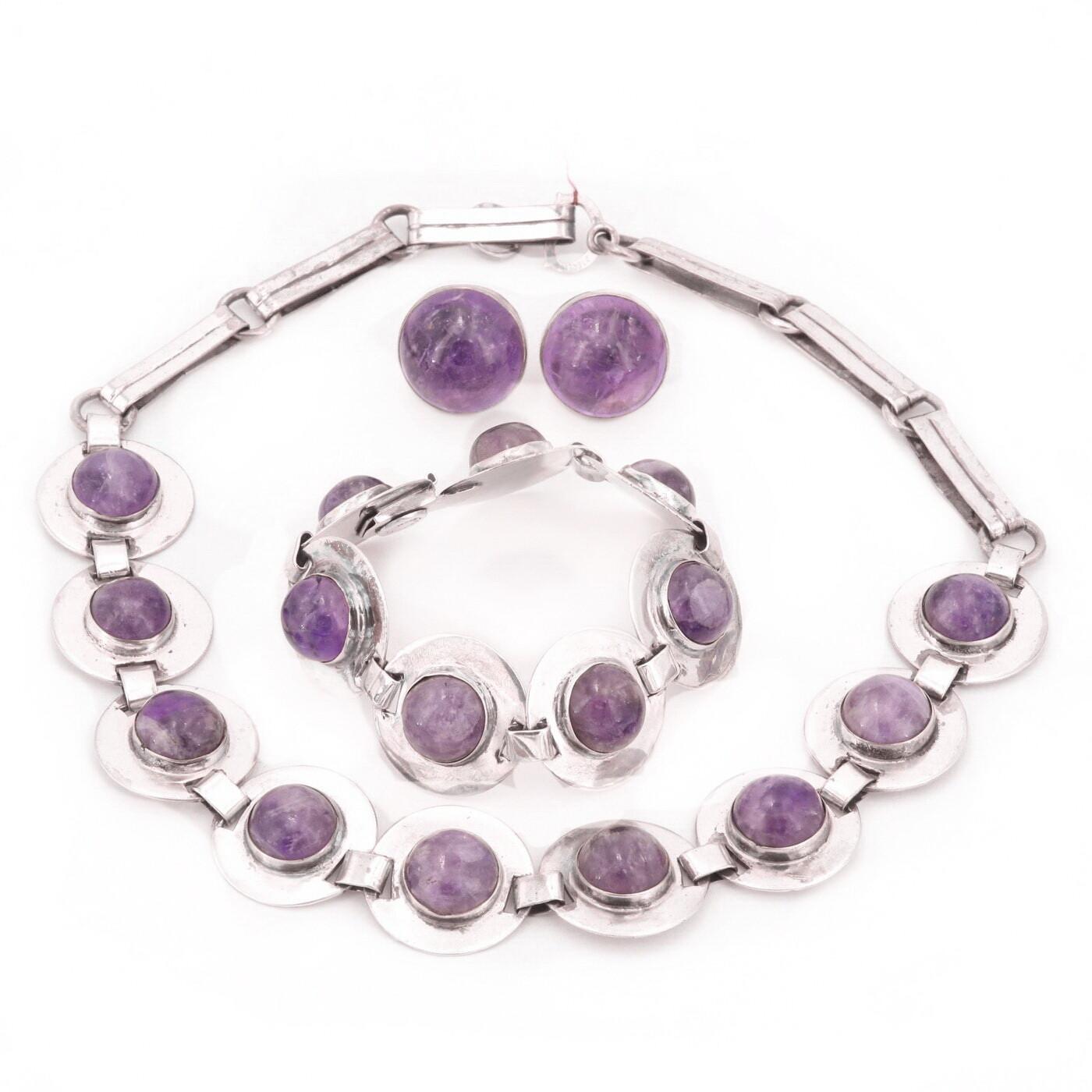 3 Pc Taxco Amethyst Silver Necklace Bracelet Earrings Parure