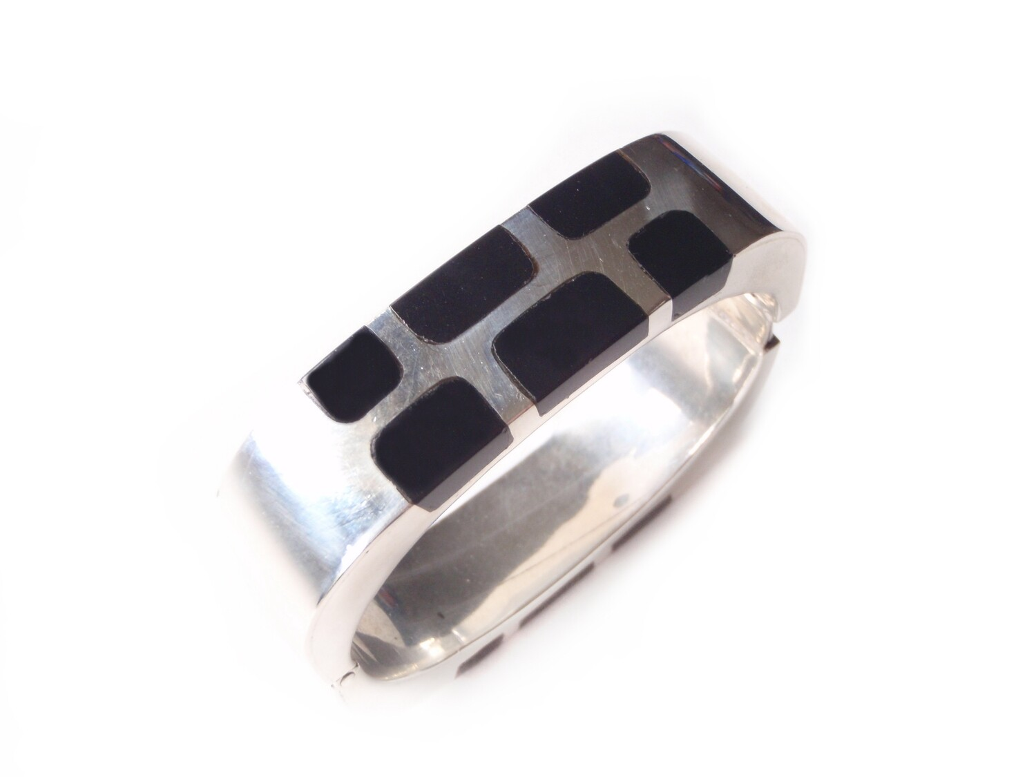 Taxco Silver Onyx Hinged Stackable Cuff Bracelet Square Rounded Corners