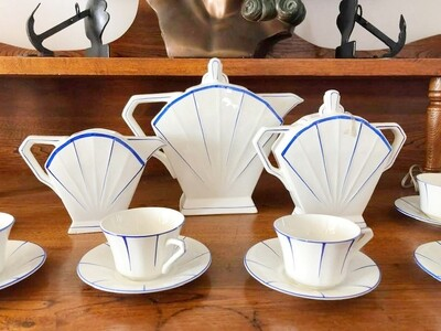 27pc Art Deco French Coffee Service for 12 Coffee Tea Pot, Cup Saucer, Cream and Sugar