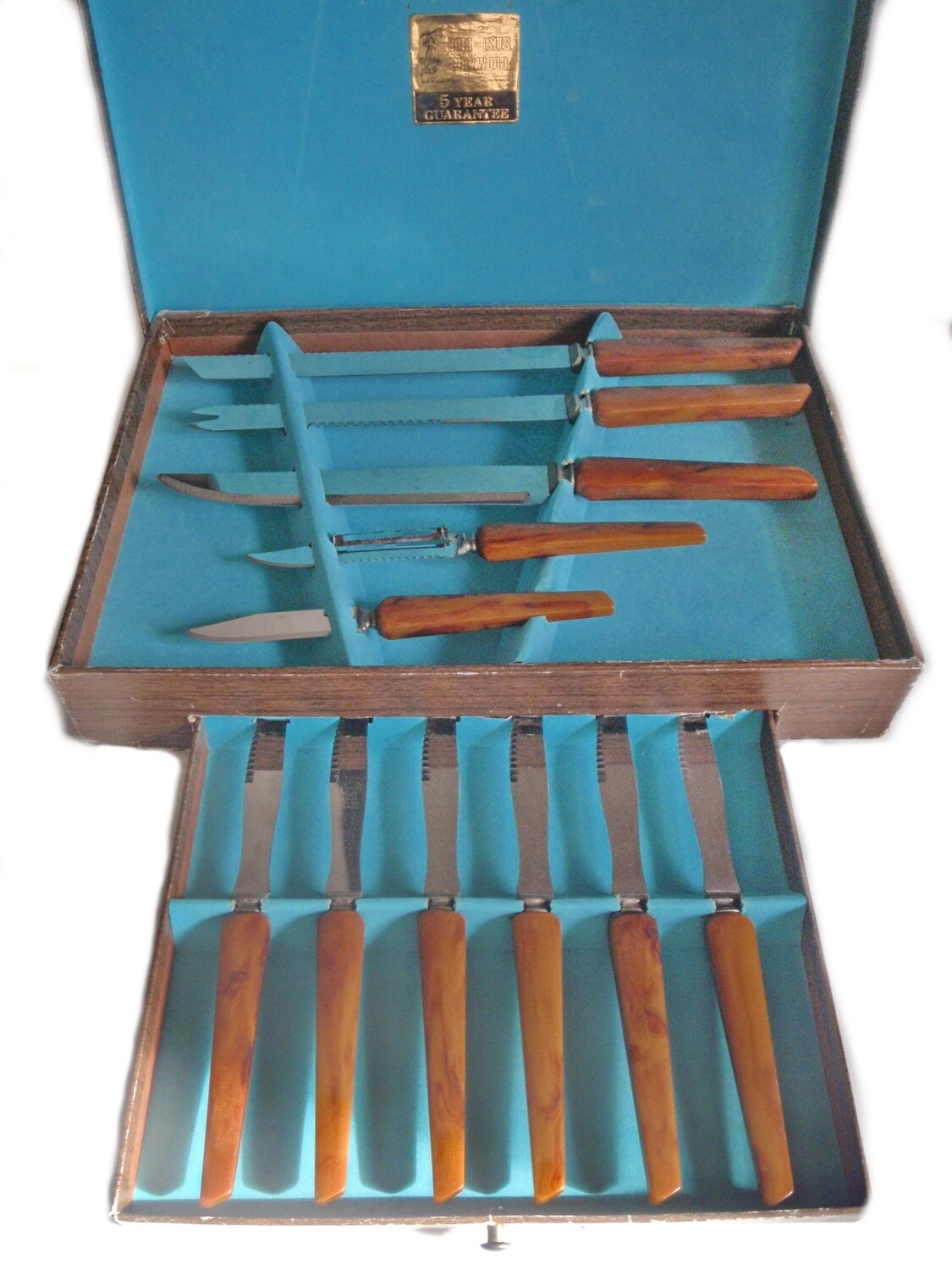 11pc Sheffield Steel Polywood Carving Set with 6 Steak Knives in Original Case