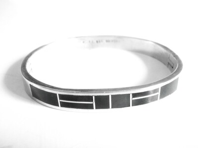 Taxco Onyx Silver Hinged Cuff Bracelet Mexican Silver Bangle