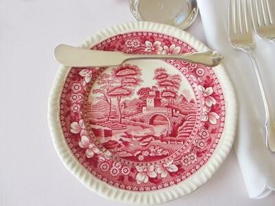 10 Spode Pink Tower 6 3/4 Inch Bread Bun Plates Copeland Transferware