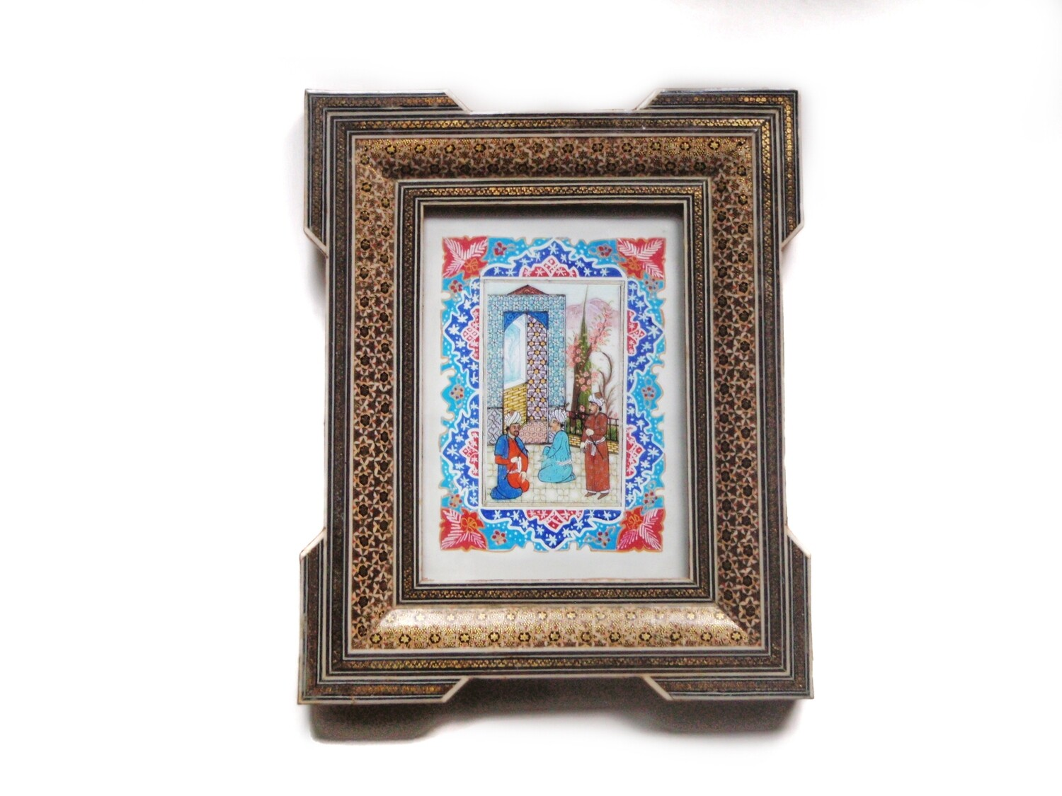 Persian Middle Eastern Scholars Art in Elaborate Khatam Frame