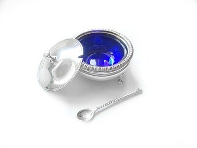 Art Deco 3 pc Sterling Cobalt Glass Salt Bowl, Spoon and Lid