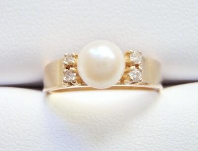 Pearl and Diamond 14k Ring Cultured Pearl 4 Diamonds