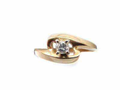 Vintage 14k Gold and Diamond Off Set Modern Design Ring