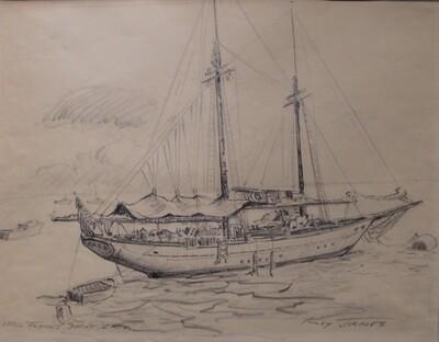 Errol Flynn Yacht Zaca Sketch by Roy James - Vintage Sailboat Drawing