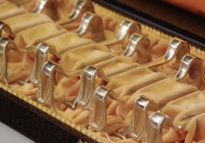Art Nouveau Jugendstil 1910 Miele French 12 Silver Knife Rests Boxed