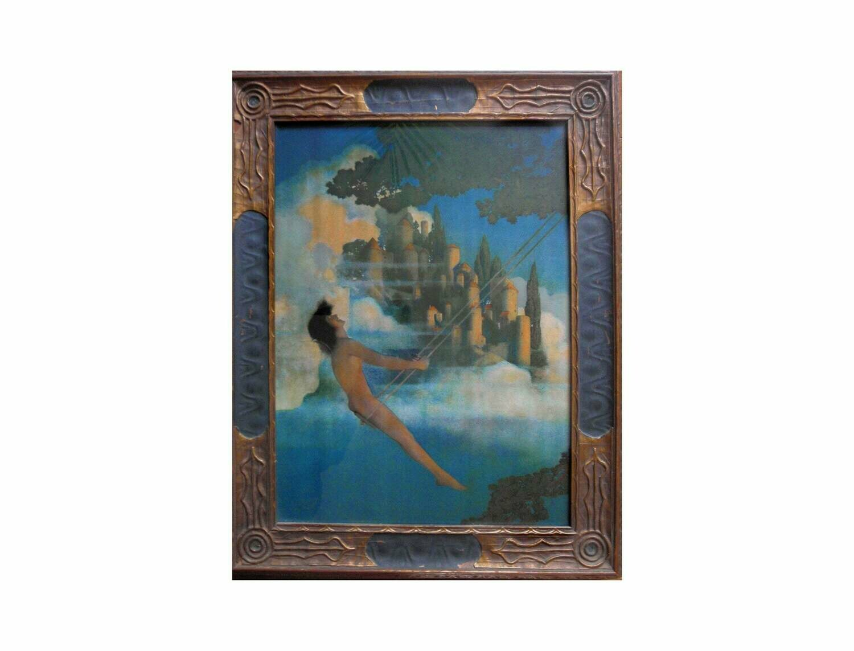 1920s Maxfield Parrish Dinky Bird in Original Art Deco Frame Fantasy Art