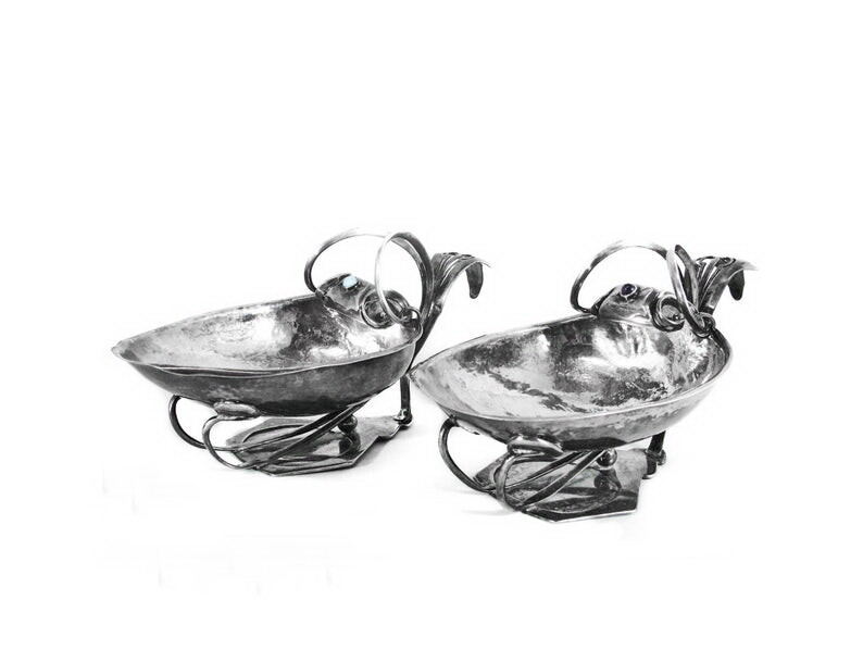 2 Large Antique Silver Hand Hammered Bowls Amethyst Moonstone Gemstones