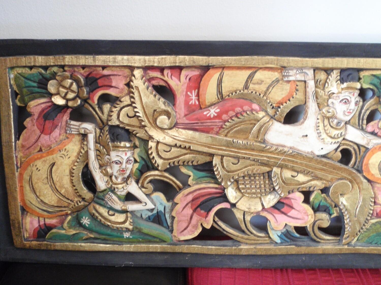 Rumayana Hand Carved LARGE Wood Panel Hindu Wall Art No. 2