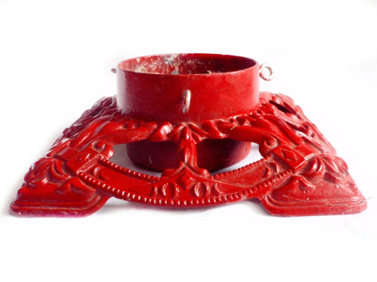Vintage Large Red Cast Iron Christmas Tree Stand