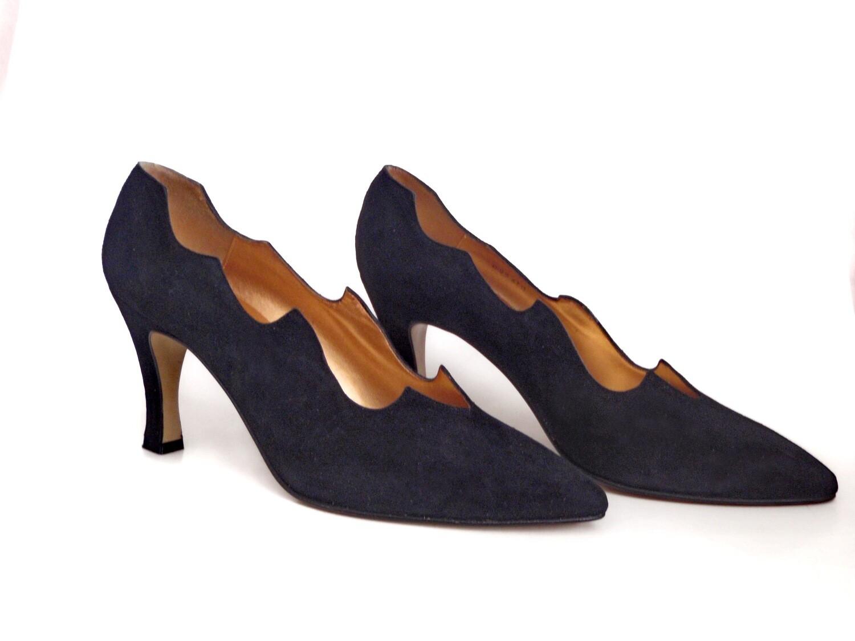 1980s Proxy Black Suede Pumps Ladies 9M High Heel Shoes