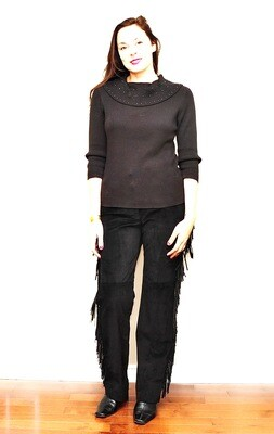 Sexy Southwest Black Suede Fringed Pants Rock Star US 10