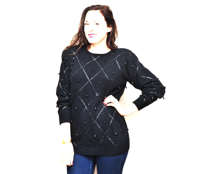 1990's Liz Claiborne Beaded Lambswool Angora Sweater