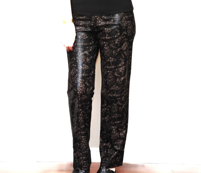 Danier Snake Skin Dark Brown Leather Women's Trousers Pants