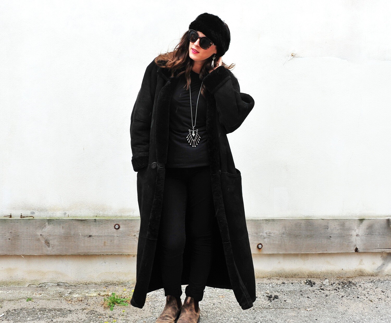 1990s Black Lambskin and Suede Full Length Coat Winter Coat