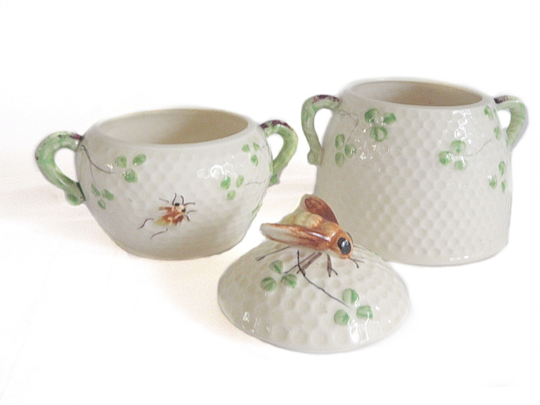ESD Lefton Japan Honeycomb and Bee Condiment Sugar Jam Pots Bowls