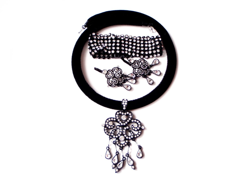 Vintage 3pc Swarovski Crystal Necklace, Bracelet, Chandelier Earrings