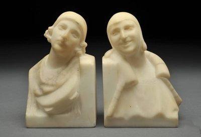 1920's Art Deco Hand Carved Marble Women Bookends