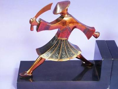 Pair Art Deco Ronson Sg'd Samurai Warrior Swordsmen Polychromed Bookends