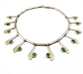 Vintage Taxco Mexco Silver Necklace Nephrite Jade 1955 Sg'd