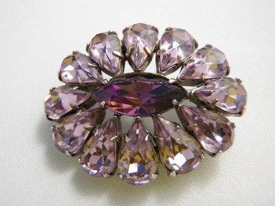 Vintage Sg'd Sherman Brooch Purple Amethyst Rhinestones