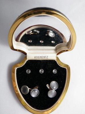 Mid Century Krementz Tuxedo Cuff Links Stud Set Boxed Set