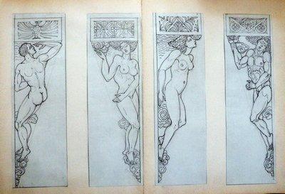 Art Deco Heinrich Arad Schmidt Nude Male Female Cornice Graphite Drawing