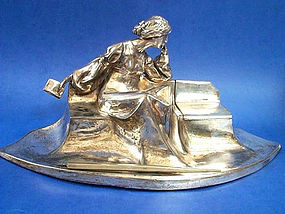 French Art Nouveau Silvered Pewter Figural Lady Desk Set Inkwell